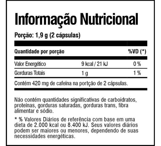 Kimera Extreme Tabela Nutricional