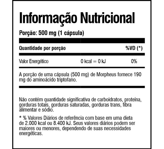 Morpheus Night Assist Tabela Nutricional