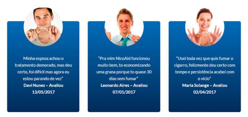 NicoAid Cigarfree Fórmula depoimentos